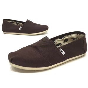 Toms Mens Dark Brown Slip On Casual Shoes Size 10